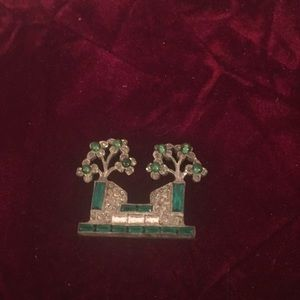 Vintage Art Deco Double Flower Brooch